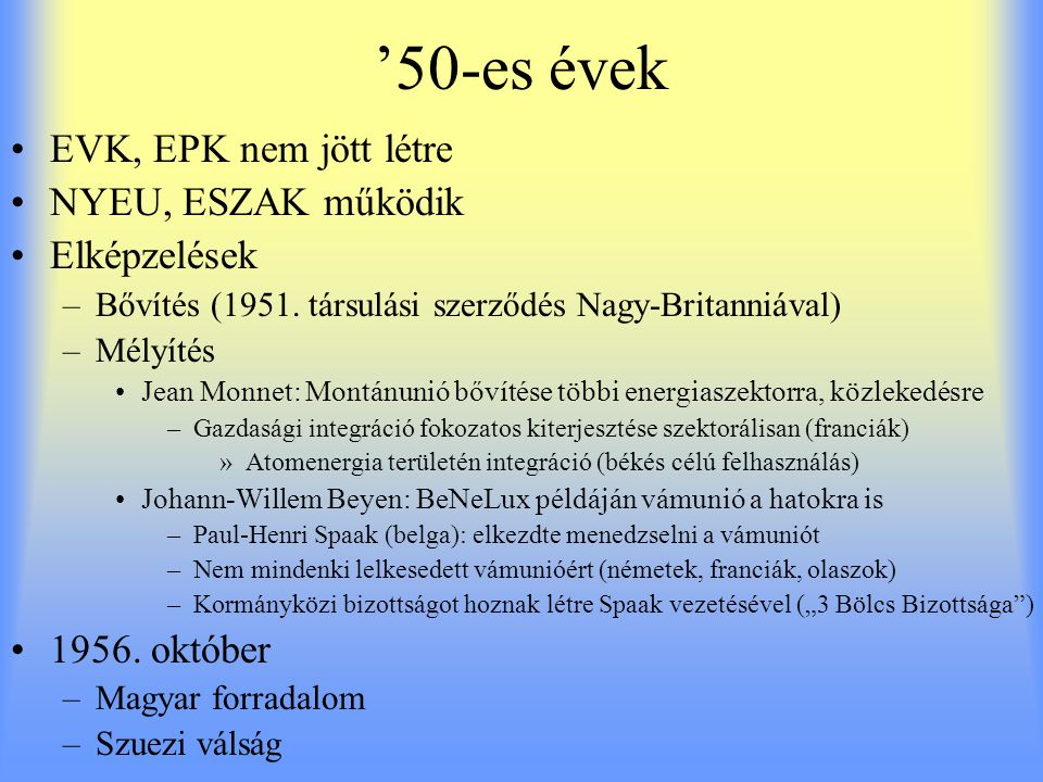 '50-es évek EVK, EPK nem jött létre NYEU, ESZAK működik Elképzelések