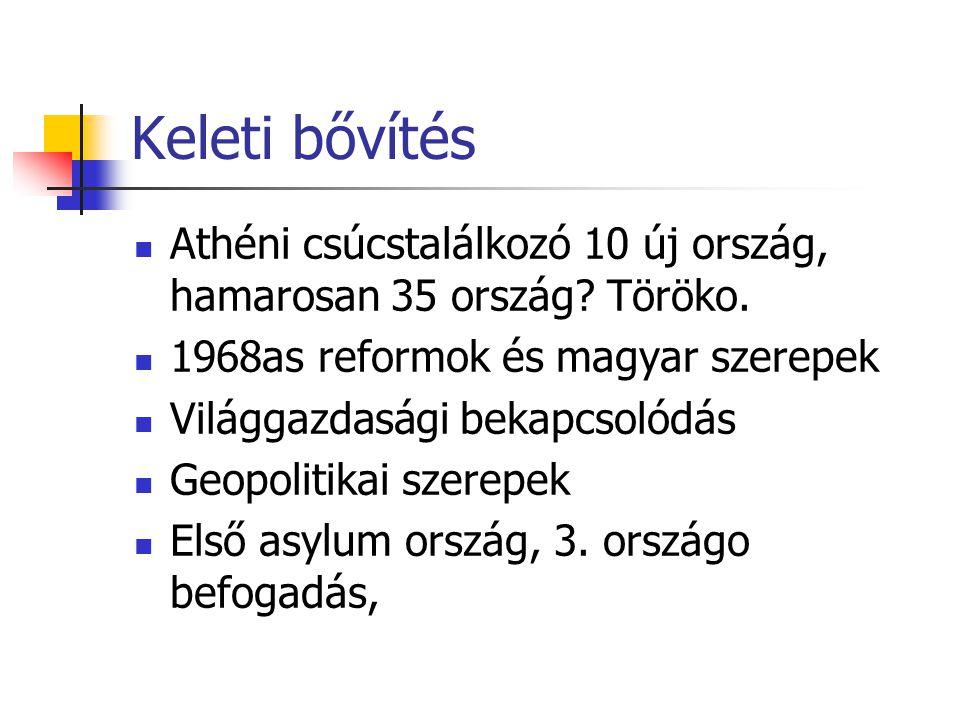 Keleti bővítés Athéni csúcstalálkozó 10 új ország, hamarosan 35 ország Töröko. 1968as reformok és magyar szerepek.