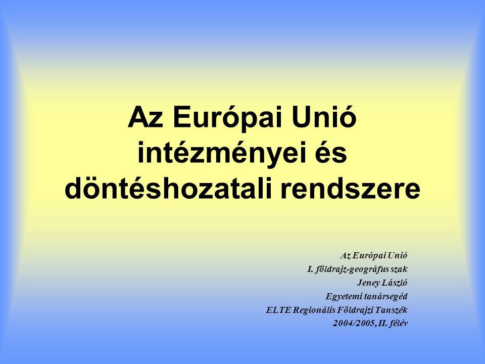 Az Európai Unió intézményei és döntéshozatali rendszere