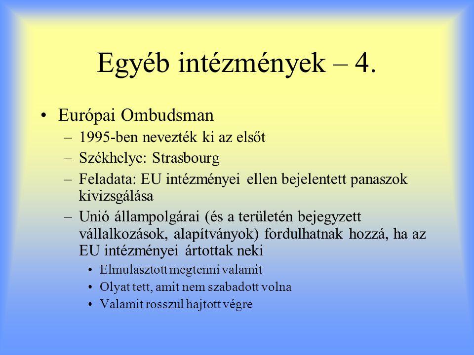 Egyéb intézmények – 4. Európai Ombudsman 1995-ben nevezték ki az elsőt