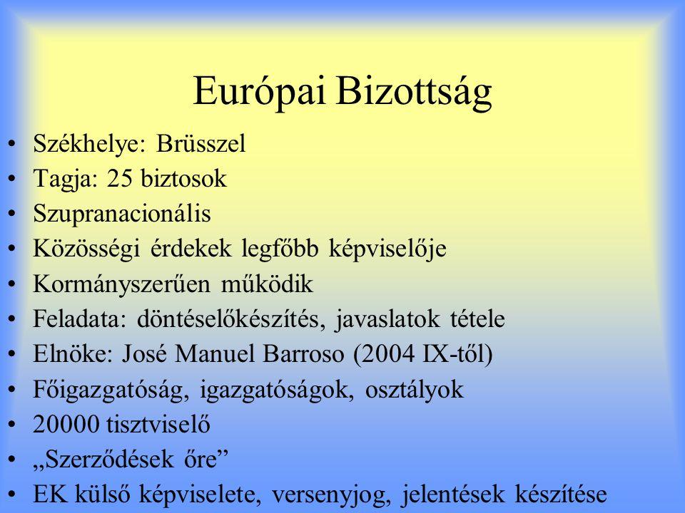 Európai Bizottság Székhelye: Brüsszel Tagja: 25 biztosok
