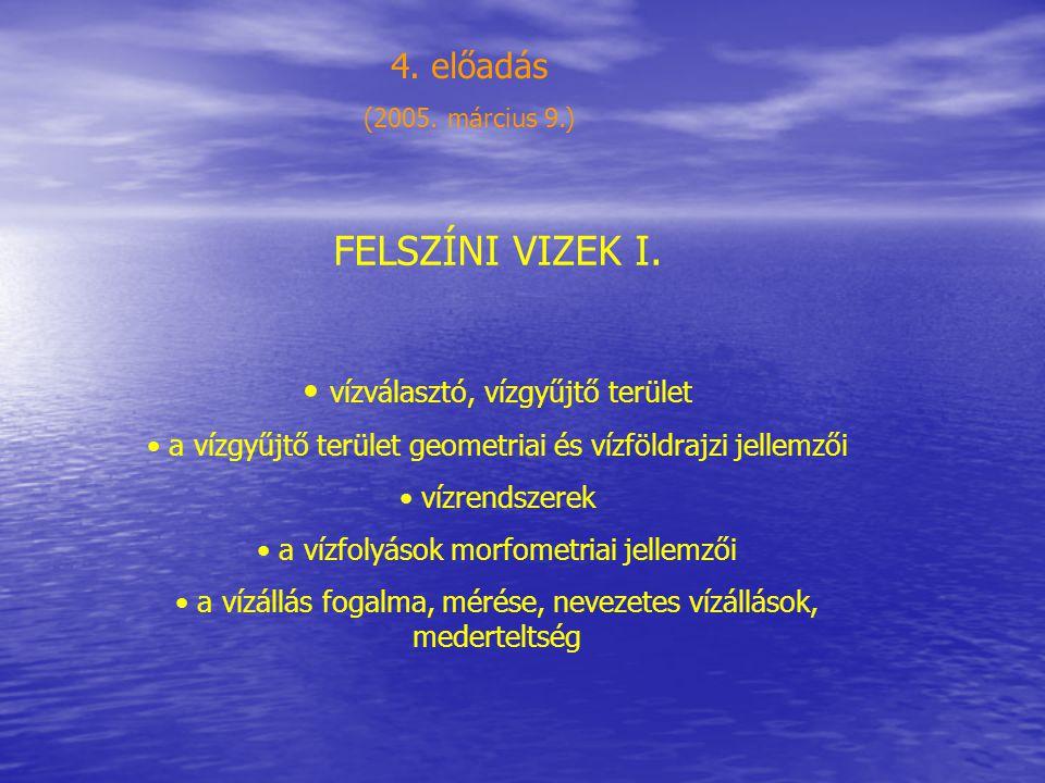 FELSZÍNI VIZEK I. 4. előadás vízválasztó, vízgyűjtő terület
