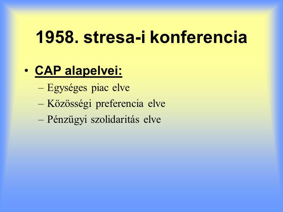 1958. stresa-i konferencia CAP alapelvei: Egységes piac elve