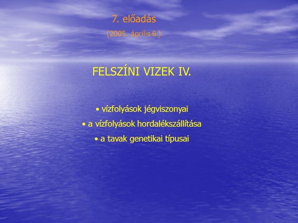 FELSZÍNI VIZEK IV. 7. előadás vízfolyások jégviszonyai