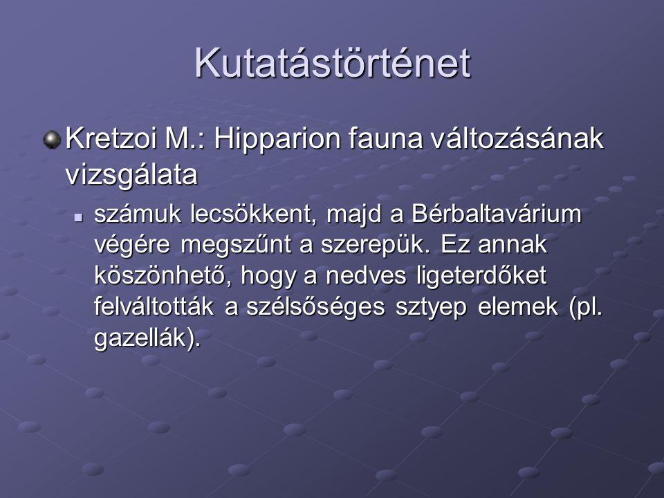 Kutatástörténet Kretzoi M.: Hipparion fauna változásának vizsgálata