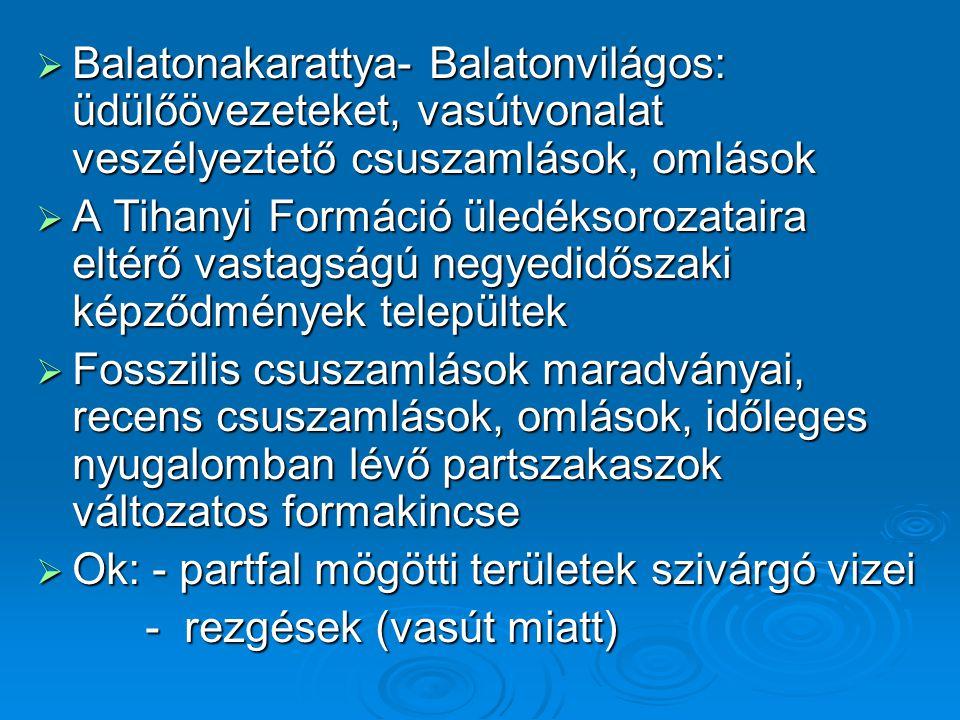 Balatonakarattya- Balatonvilágos: üdülőövezeteket, vasútvonalat veszélyeztető csuszamlások, omlások
