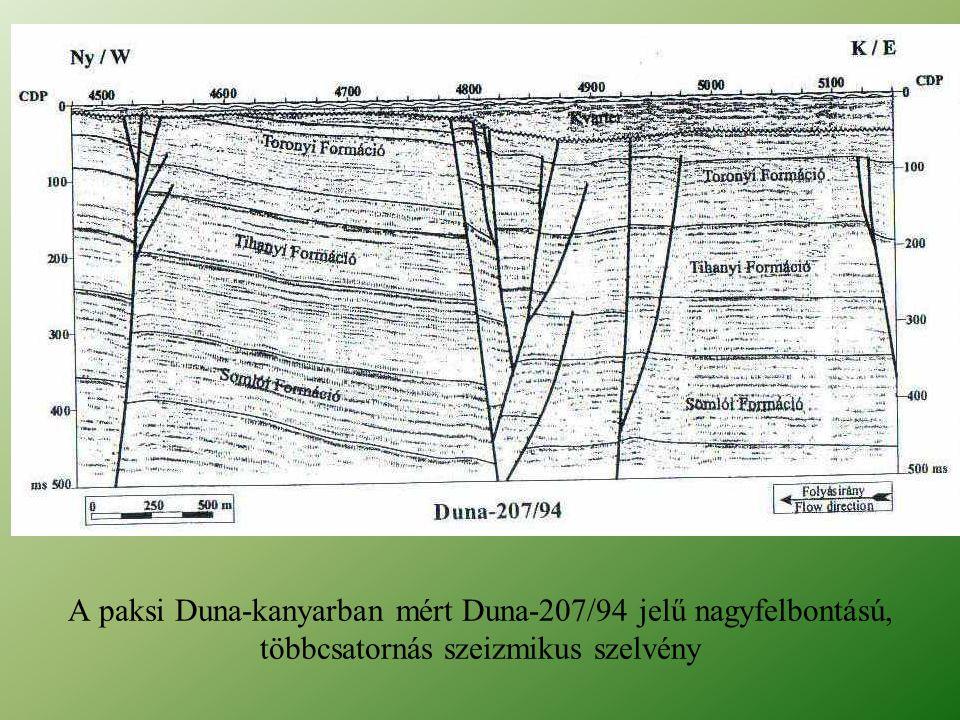 A paksi Duna-kanyarban mért Duna-207/94 jelű nagyfelbontású, többcsatornás szeizmikus szelvény