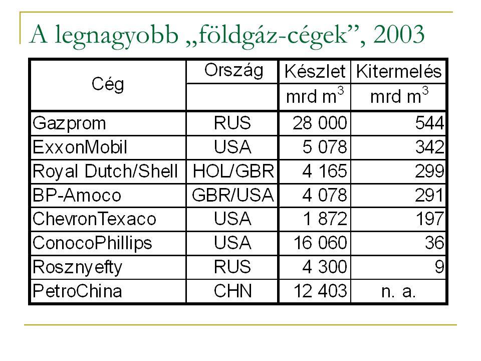 """A legnagyobb """"földgáz-cégek , 2003"""