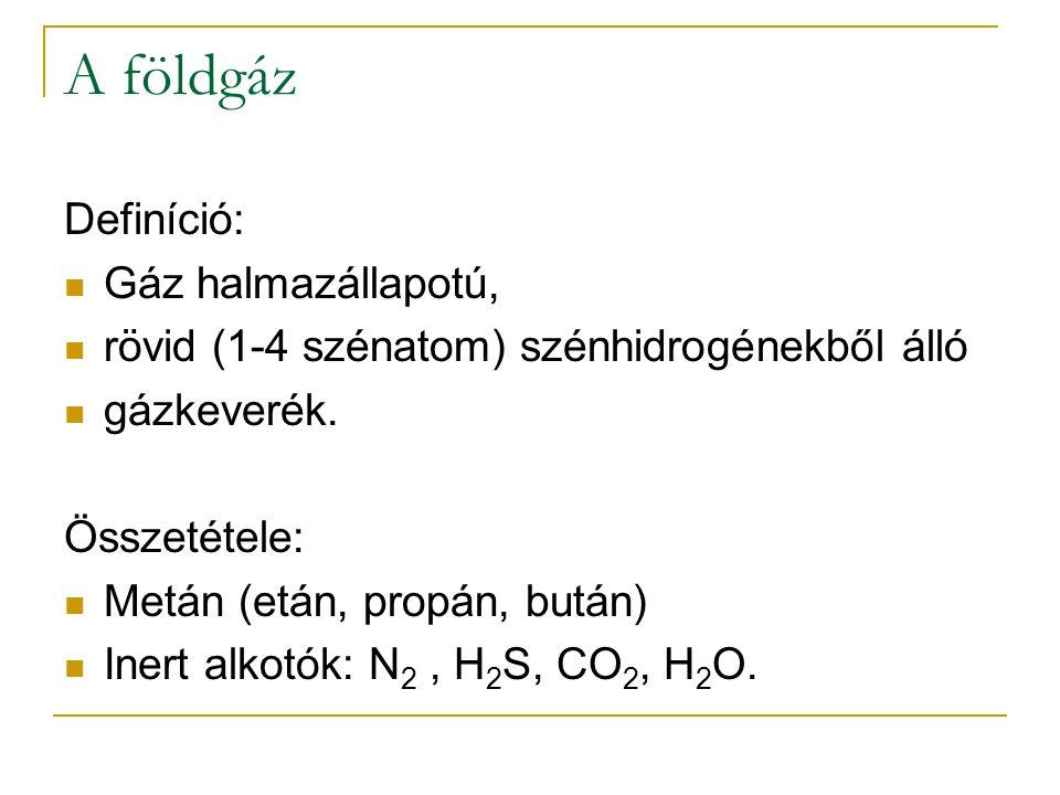 A földgáz Definíció: Gáz halmazállapotú,