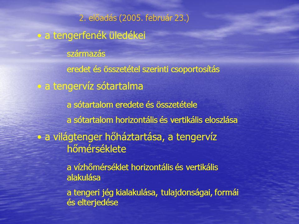 a tengerfenék üledékei származás
