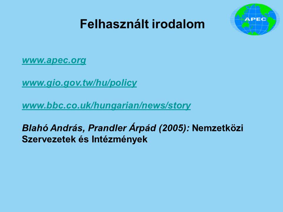 Felhasznált irodalom www.apec.org www.gio.gov.tw/hu/policy