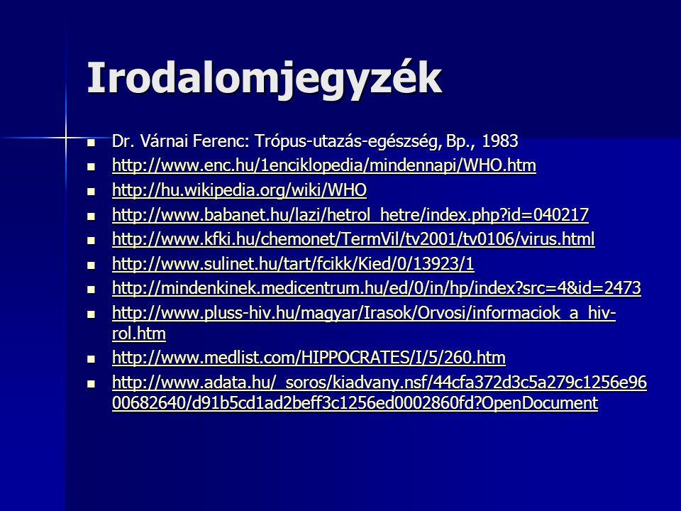 Irodalomjegyzék Dr. Várnai Ferenc: Trópus-utazás-egészség, Bp., 1983
