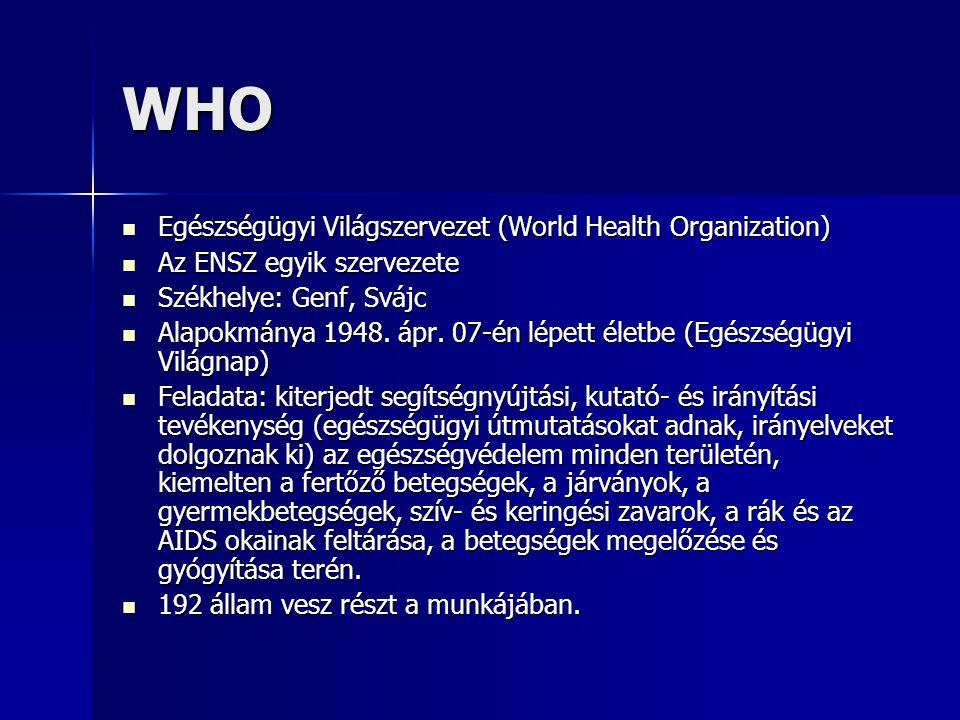 WHO Egészségügyi Világszervezet (World Health Organization)