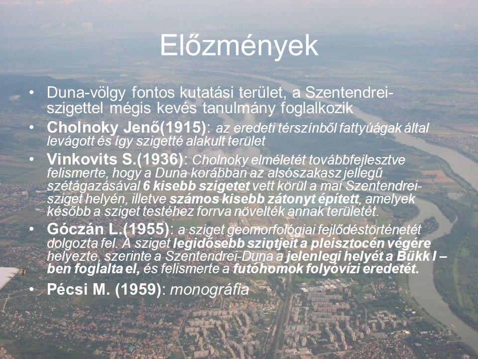 Előzmények Duna-völgy fontos kutatási terület, a Szentendrei-szigettel mégis kevés tanulmány foglalkozik.
