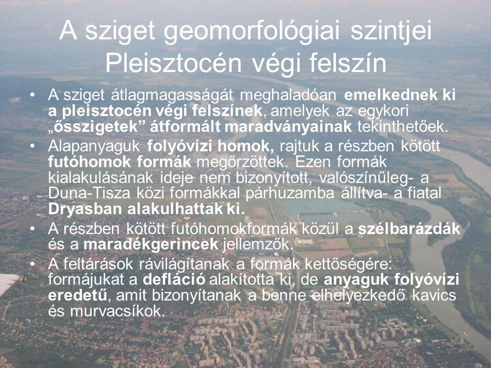 A sziget geomorfológiai szintjei Pleisztocén végi felszín