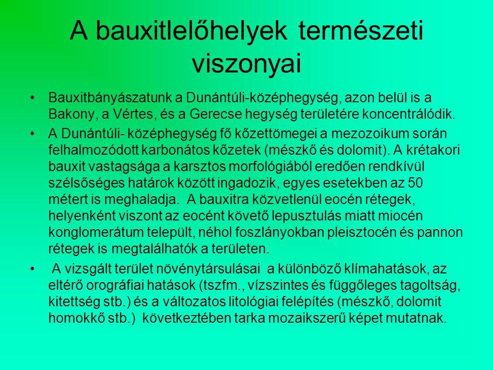A bauxitlelőhelyek természeti viszonyai