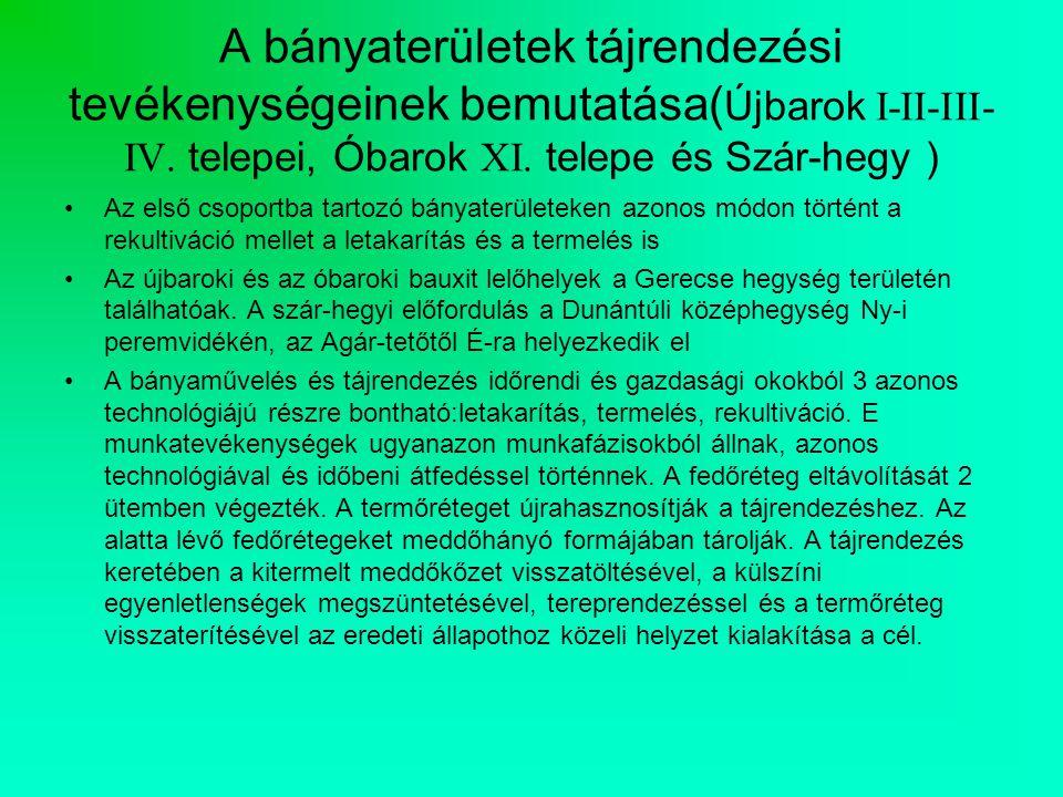 A bányaterületek tájrendezési tevékenységeinek bemutatása(Újbarok I-II-III-IV. telepei, Óbarok XI. telepe és Szár-hegy )
