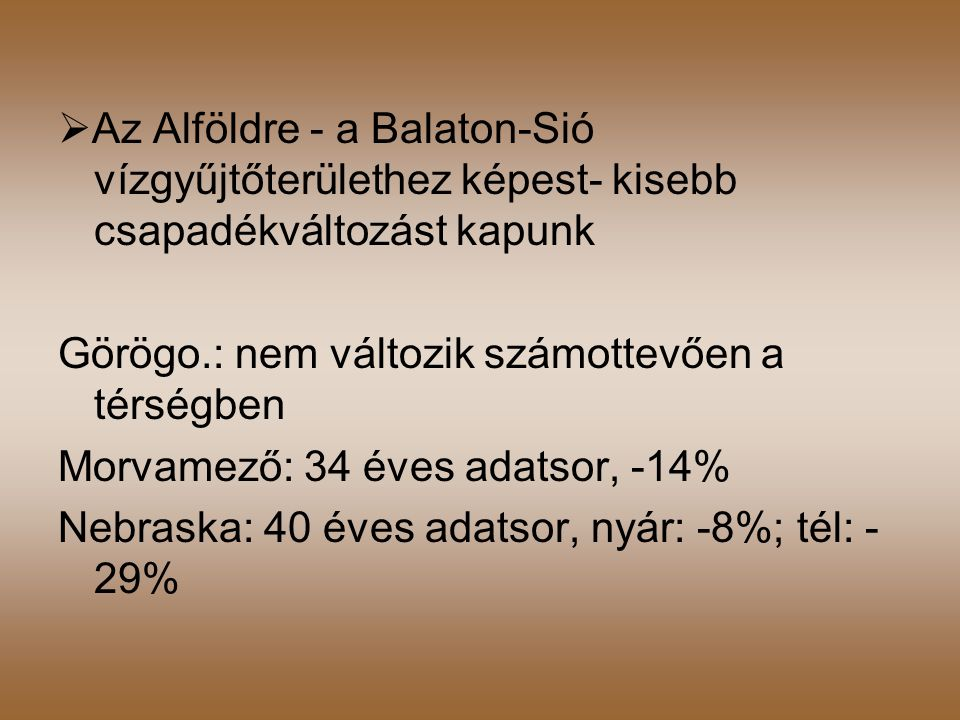 Az Alföldre - a Balaton-Sió vízgyűjtőterülethez képest- kisebb csapadékváltozást kapunk