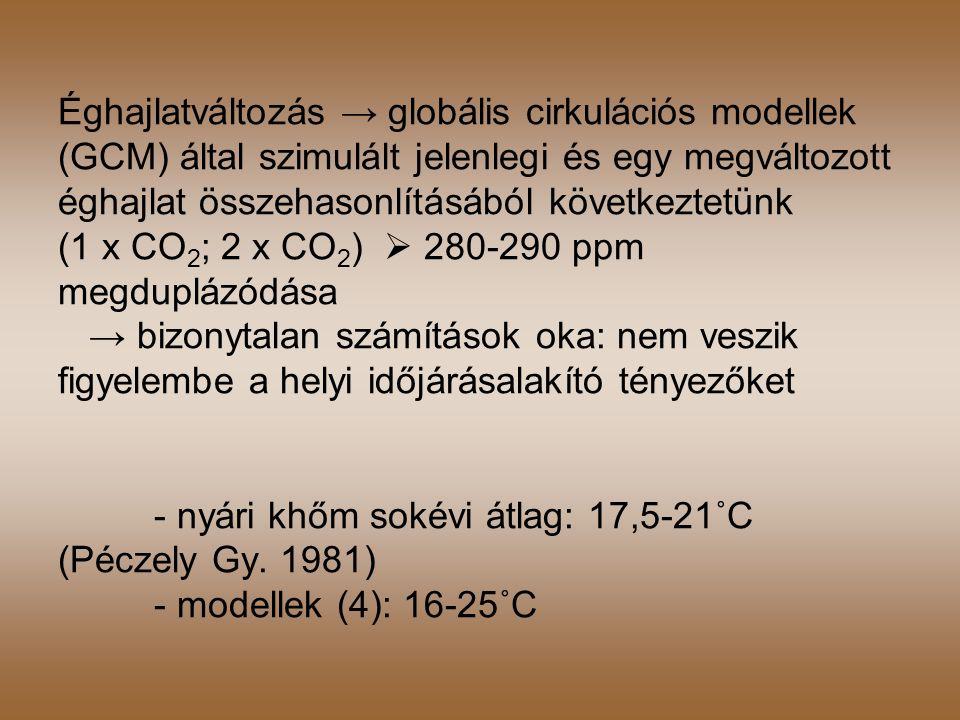 Éghajlatváltozás → globális cirkulációs modellek (GCM) által szimulált jelenlegi és egy megváltozott éghajlat összehasonlításából következtetünk (1 x CO2; 2 x CO2)  280-290 ppm megduplázódása → bizonytalan számítások oka: nem veszik figyelembe a helyi időjárásalakító tényezőket - nyári khőm sokévi átlag: 17,5-21˚C (Péczely Gy.