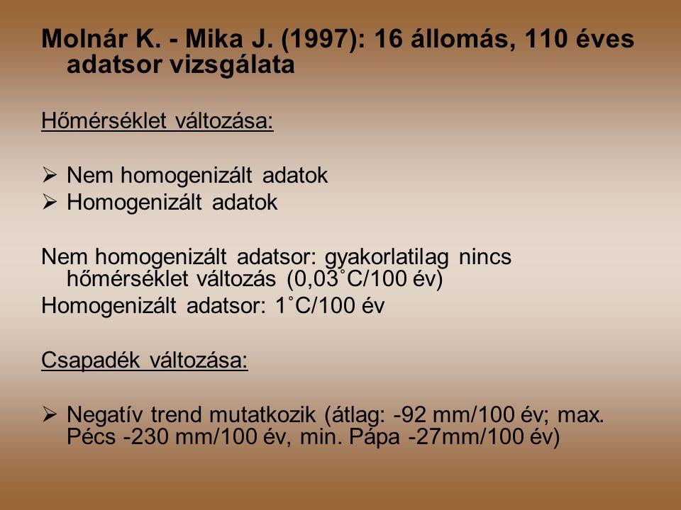 Molnár K. - Mika J. (1997): 16 állomás, 110 éves adatsor vizsgálata