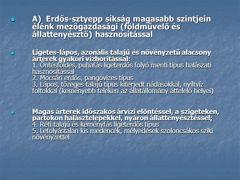 A) Erdős-sztyepp síkság magasabb szintjein élénk mezőgazdasági (földművelő és állattenyésztő) hasznosítással