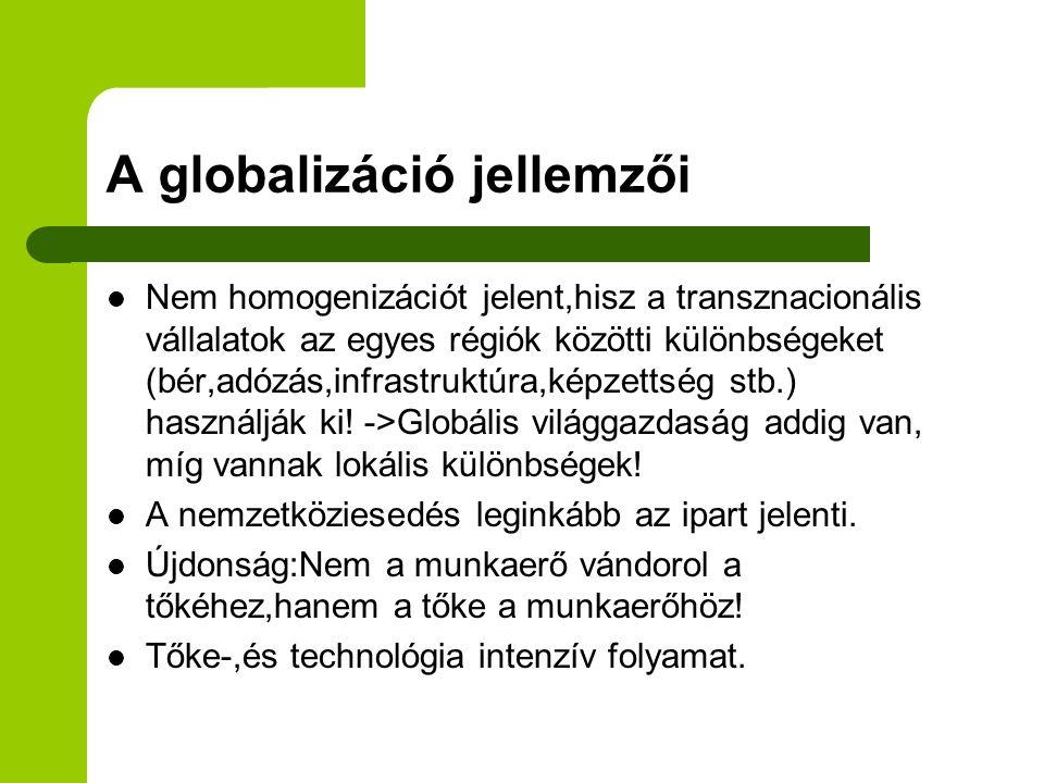 A globalizáció jellemzői
