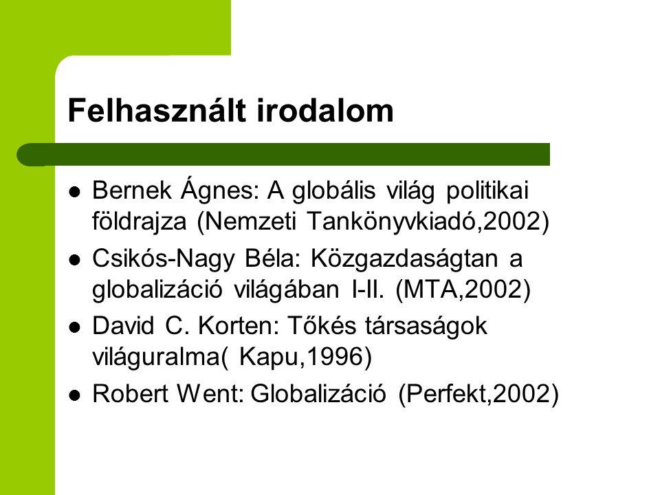 Felhasznált irodalom Bernek Ágnes: A globális világ politikai földrajza (Nemzeti Tankönyvkiadó,2002)