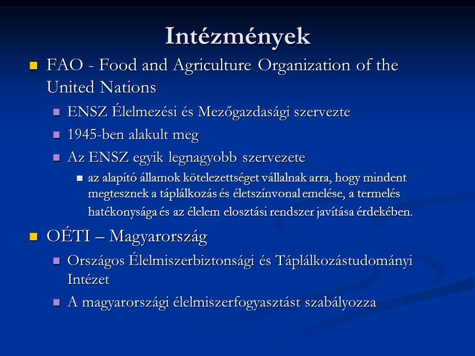 Intézmények FAO - Food and Agriculture Organization of the United Nations. ENSZ Élelmezési és Mezőgazdasági szervezte.