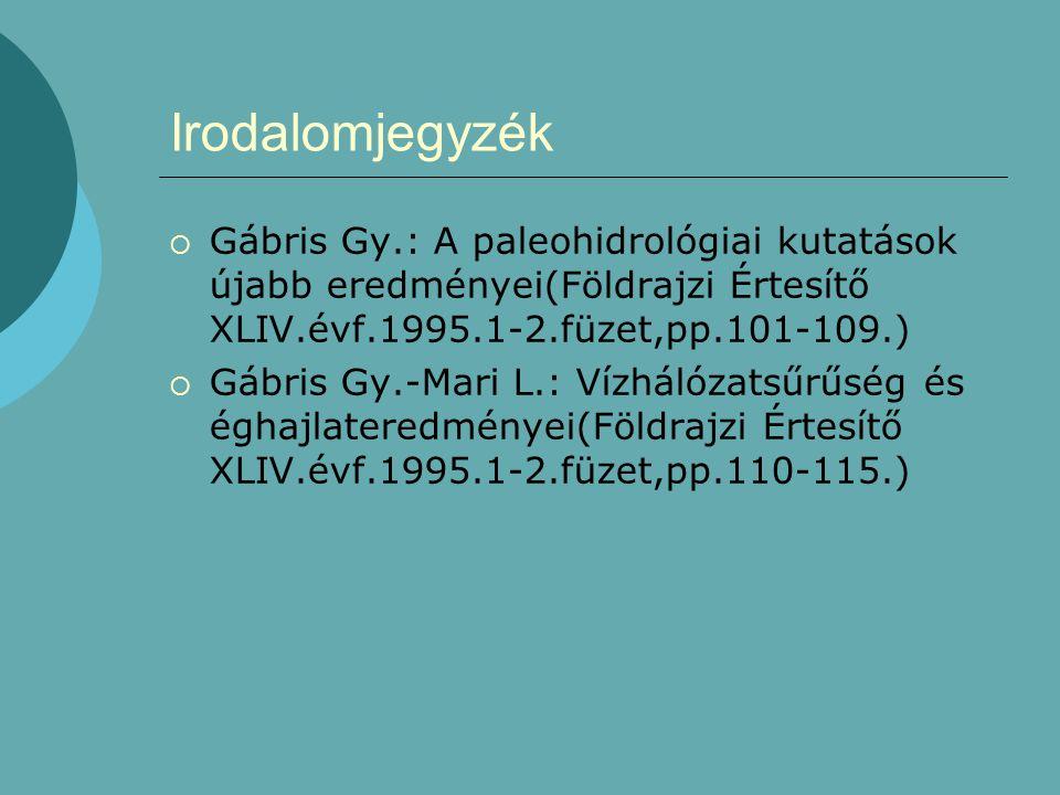 Irodalomjegyzék Gábris Gy.: A paleohidrológiai kutatások újabb eredményei(Földrajzi Értesítő XLIV.évf.1995.1-2.füzet,pp.101-109.)