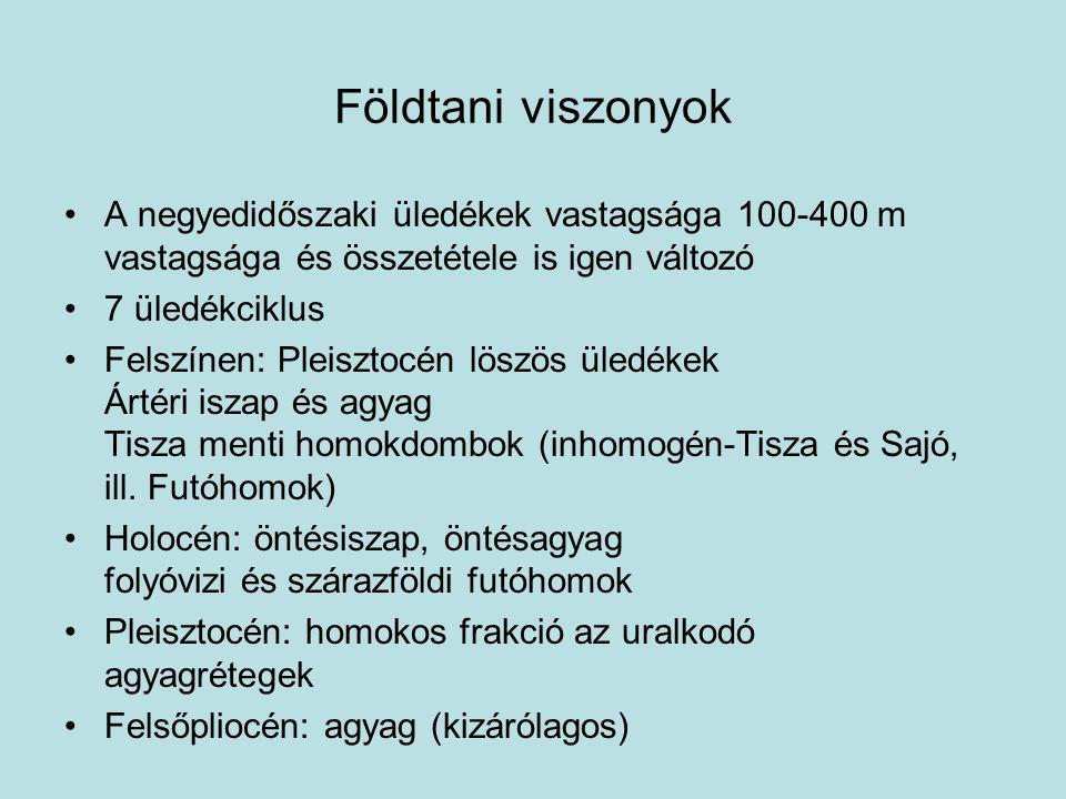 Földtani viszonyok A negyedidőszaki üledékek vastagsága 100-400 m vastagsága és összetétele is igen változó.