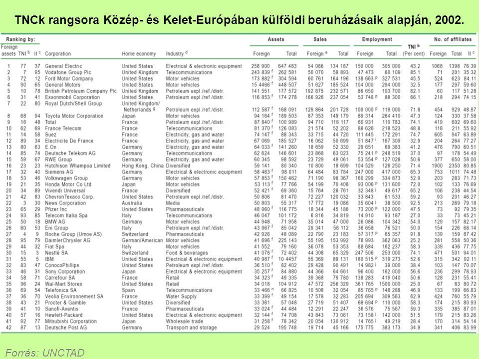 TNCk rangsora Közép- és Kelet-Európában külföldi beruházásaik alapján, 2002.