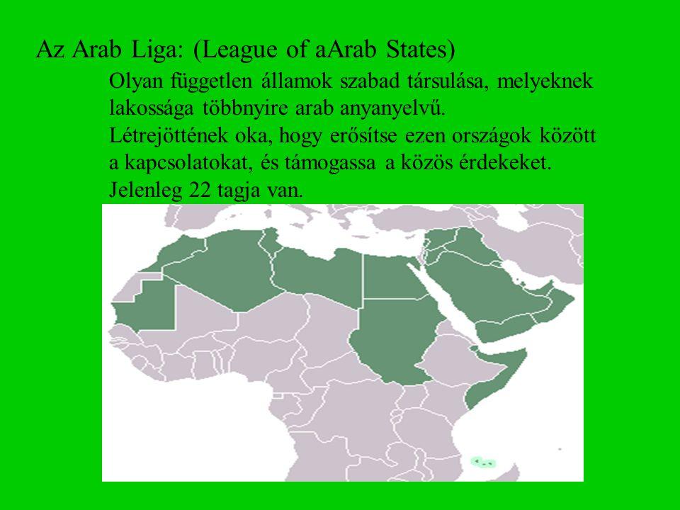 Az Arab Liga: (League of aArab States)