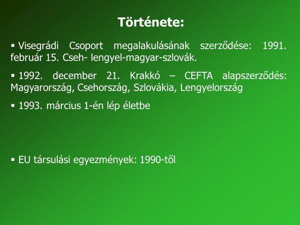 Története: Visegrádi Csoport megalakulásának szerződése: 1991. február 15. Cseh- lengyel-magyar-szlovák.