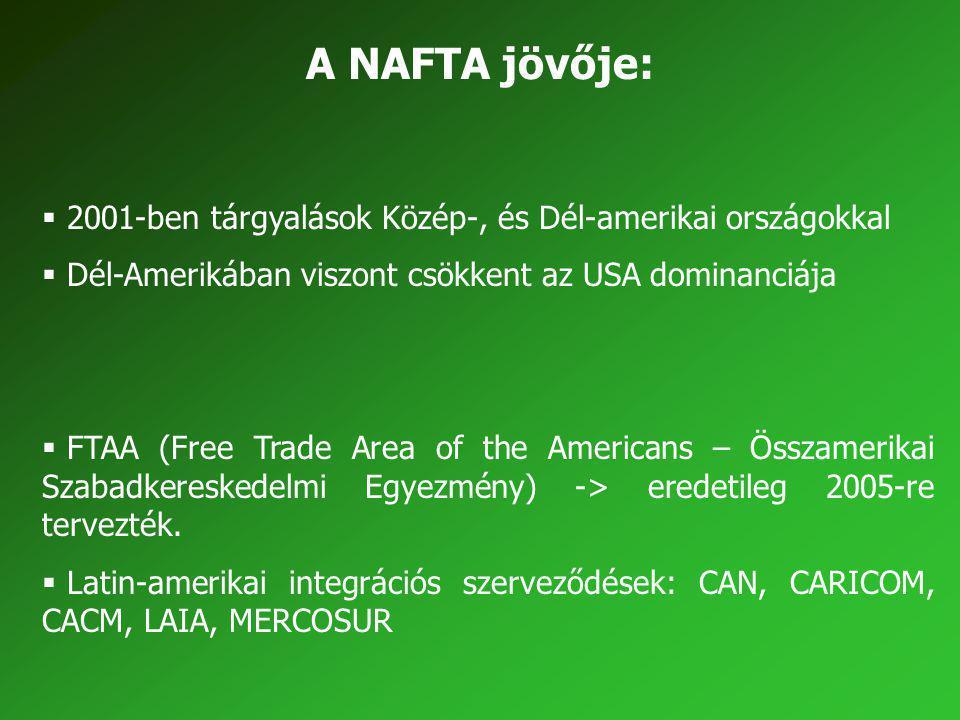 A NAFTA jövője: 2001-ben tárgyalások Közép-, és Dél-amerikai országokkal. Dél-Amerikában viszont csökkent az USA dominanciája.
