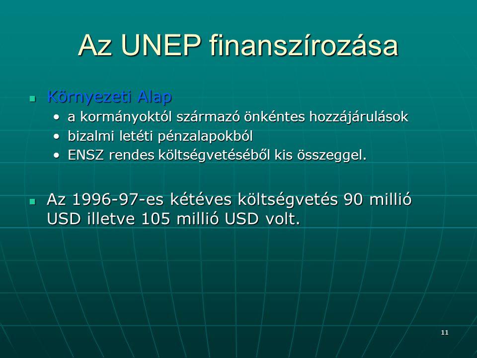 Az UNEP finanszírozása