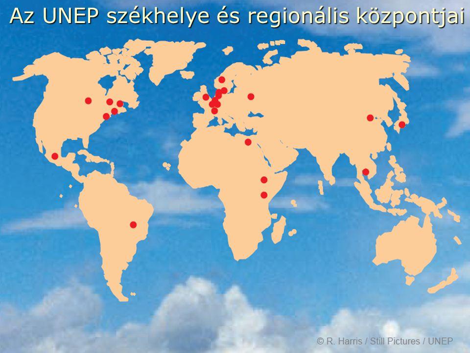 Az UNEP székhelye és regionális központjai