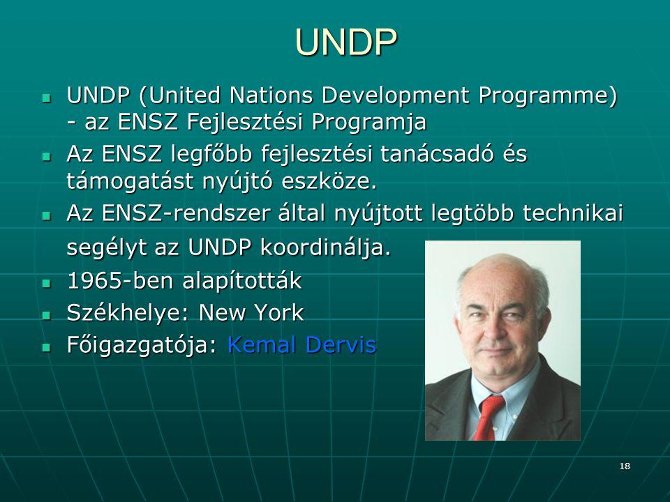 UNDP UNDP (United Nations Development Programme) - az ENSZ Fejlesztési Programja.