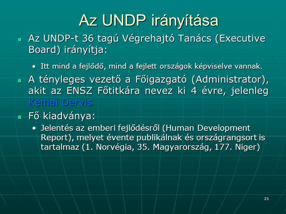 Az UNDP irányítása Az UNDP-t 36 tagú Végrehajtó Tanács (Executive Board) irányítja: Itt mind a fejlődő, mind a fejlett országok képviselve vannak.