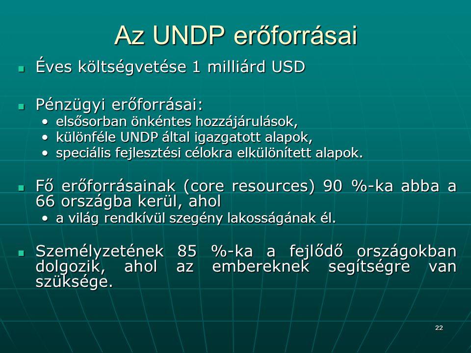 Az UNDP erőforrásai Éves költségvetése 1 milliárd USD
