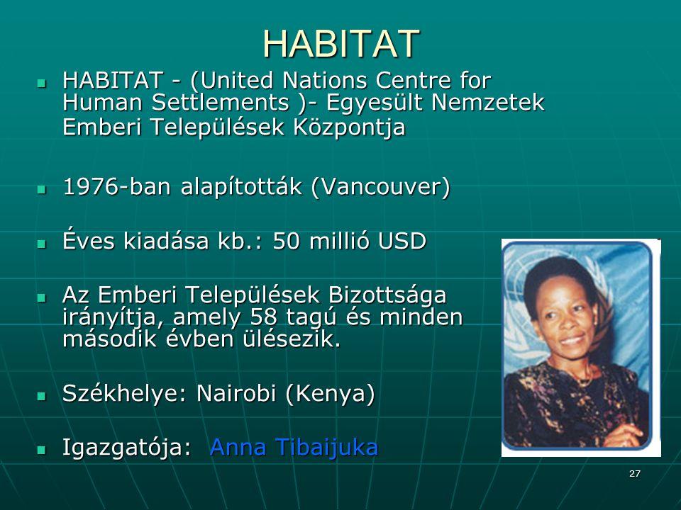HABITAT HABITAT - (United Nations Centre for Human Settlements )- Egyesült Nemzetek Emberi Települések Központja.