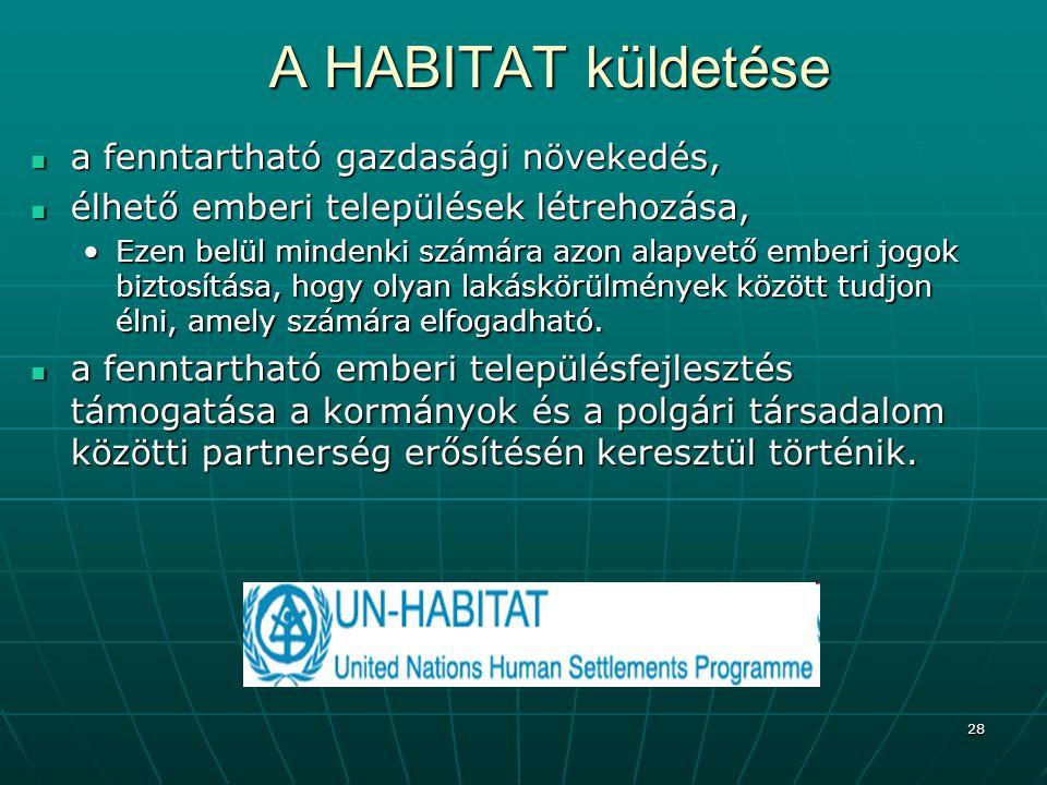 A HABITAT küldetése a fenntartható gazdasági növekedés,