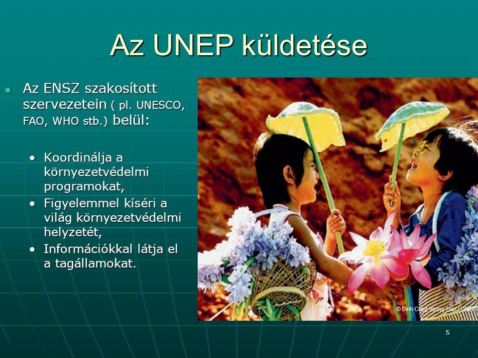 Az UNEP küldetése Az ENSZ szakosított szervezetein ( pl. UNESCO, FAO, WHO stb.) belül: Koordinálja a környezetvédelmi programokat,