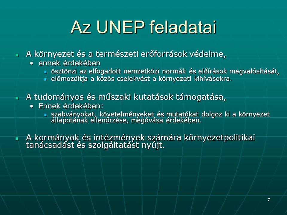Az UNEP feladatai A környezet és a természeti erőforrások védelme,