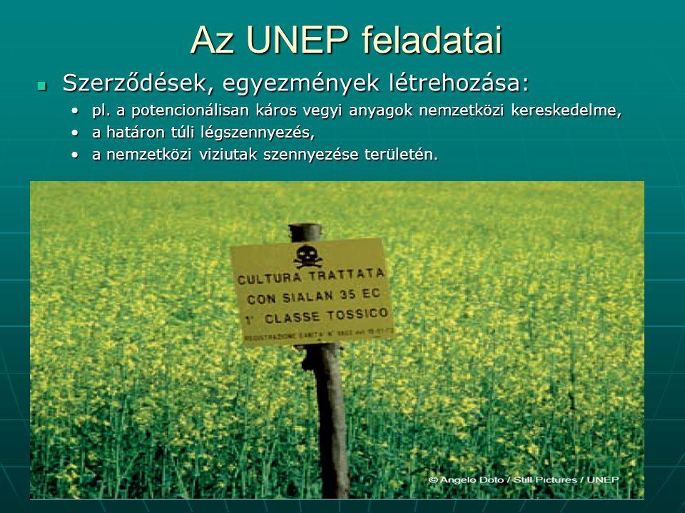 Az UNEP feladatai Szerződések, egyezmények létrehozása: