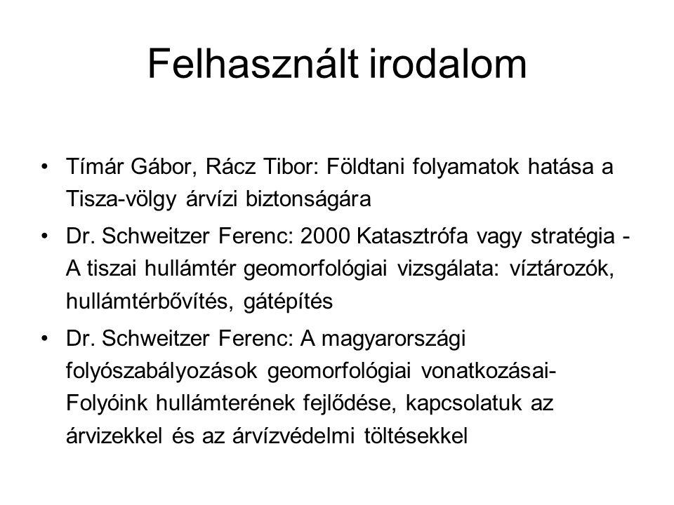 Felhasznált irodalom Tímár Gábor, Rácz Tibor: Földtani folyamatok hatása a Tisza-völgy árvízi biztonságára.