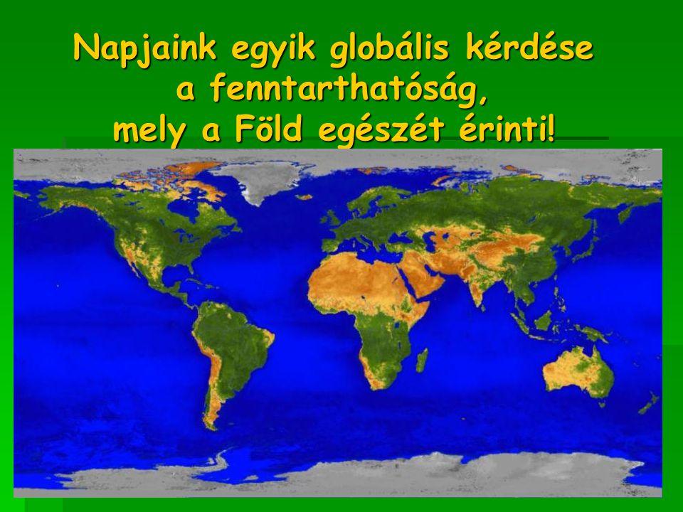 Napjaink egyik globális kérdése a fenntarthatóság, mely a Föld egészét érinti!