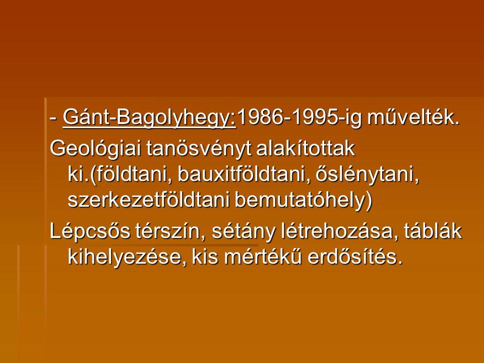 - Gánt-Bagolyhegy:1986-1995-ig művelték.