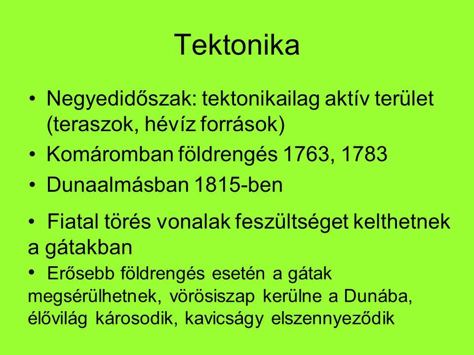 Tektonika Negyedidőszak: tektonikailag aktív terület (teraszok, hévíz források) Komáromban földrengés 1763, 1783.