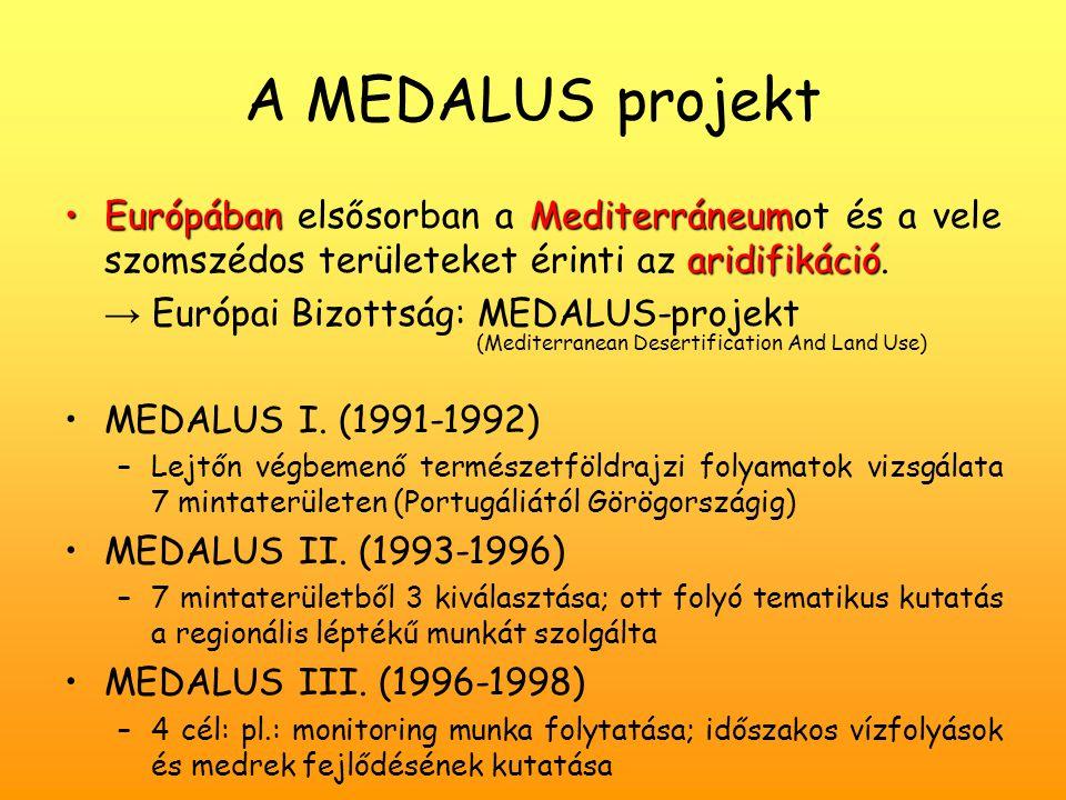 A MEDALUS projekt Európában elsősorban a Mediterráneumot és a vele szomszédos területeket érinti az aridifikáció.