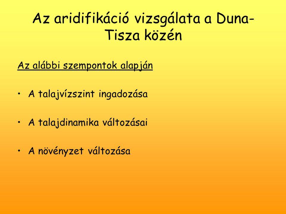 Az aridifikáció vizsgálata a Duna-Tisza közén